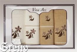 6 Ręczników Haftowanych w Ozdobnym Pudełku Viva Art VI Greno beż, just