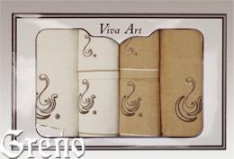 6 Ręczników Haftowanych w Ozdobnym Pudełku Viva Art VI Greno beż, ocean