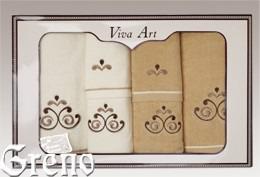 6 Ręczników Haftowanych w Ozdobnym Pudełku Viva Art VI Greno beż, secesja