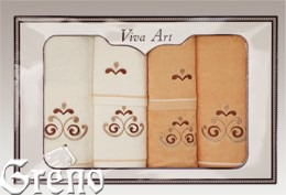 6 Ręczników Haftowanych w Ozdobnym Pudełku Viva Art VI Greno honey, secesja