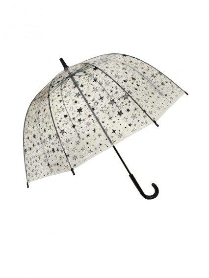 Długi parasol młodzieżowy przezroczysty, gwiazdy