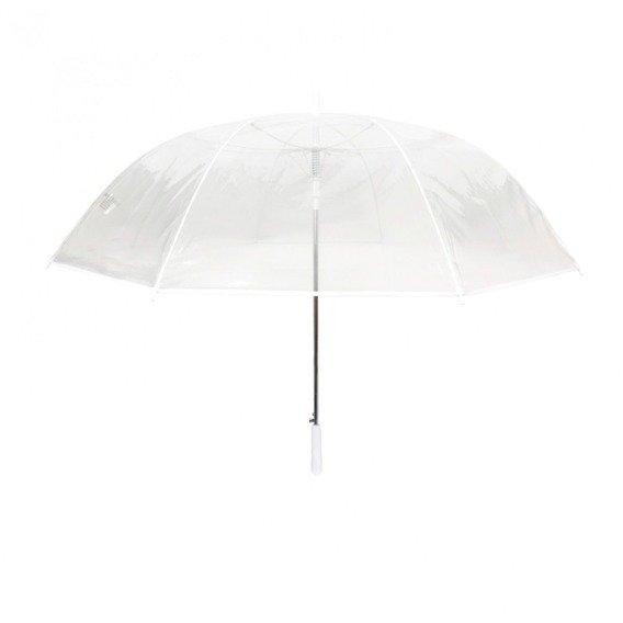 Długi parasol przezroczysty GOLF, biała bordiura