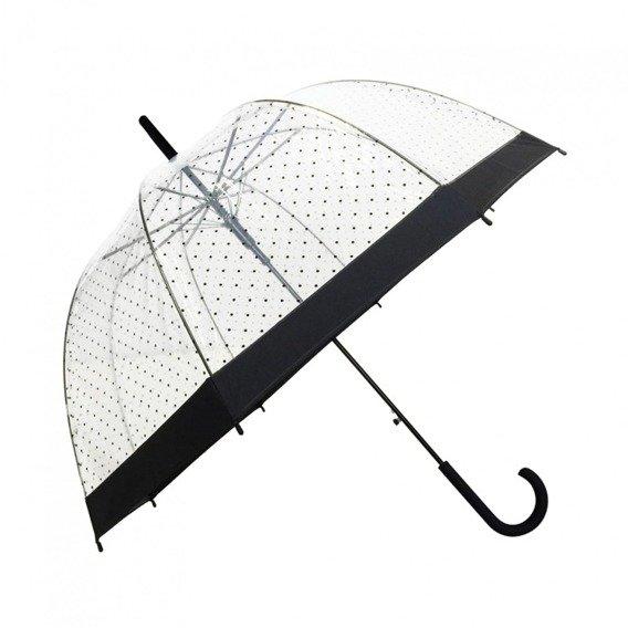 Długi parasol przezroczystyw kropki, Lady