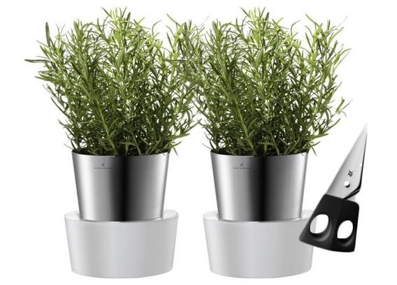 Dwie doniczki HERBS na zioła Auerhahn + nożyczki WMF