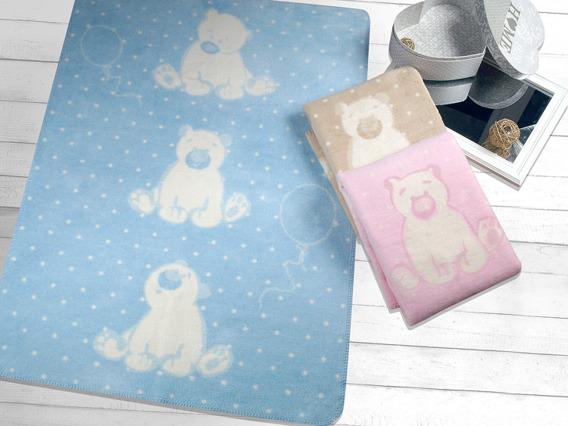 Koc SWEET BEAR Greno, 4 kolory błękitny