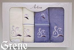 Komplet 6 Ręczników Haftowanych w Ozdobnym Pudełku na Prezent Arten VI Greno lila, melody