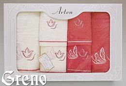 Komplet 6 Ręczników Haftowanych w Ozdobnym Pudełku na Prezent Arten VI Greno malina, tulip art