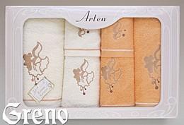 Komplet 6 Ręczników Haftowanych w Ozdobnym Pudełku na Prezent Arten VI Greno pomarańcz, dzwoneczek