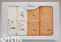Komplet 6 Ręczników Haftowanych w Ozdobnym Pudełku na Prezent Arten VI Greno pomarańcz, melody