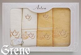 Komplet 6 Ręczników Haftowanych w Ozdobnym Pudełku na Prezent Arten VI Greno żółty, tulip art