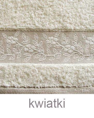 """Komplet Linen 2 Ręczniki (30x50cm i 70x140cm) + Szlafrok Rozmiar """"M"""" GRENO kwiatki"""