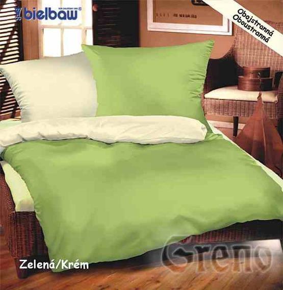 Pościel satynowa Bielbaw kremowo-zielony
