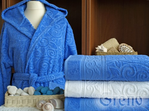 Szlafrok z kapturem TIVOLI  Greno niebieski