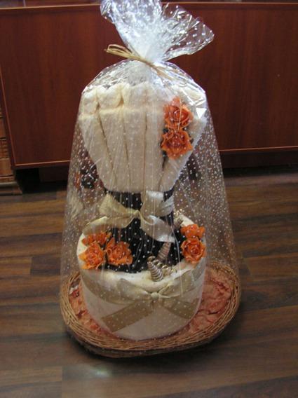 Tort Weselny z 4 ręczników Oryginał beżowo-brązowy